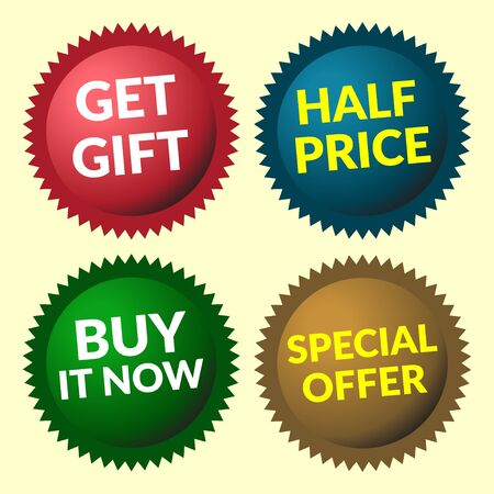 volume discount: Red, green, brown and blue discount price tags on yellow background. Set of colorfull volume sale stickers and labels. Collection sale discount banners. Sale design template. Vector illustration