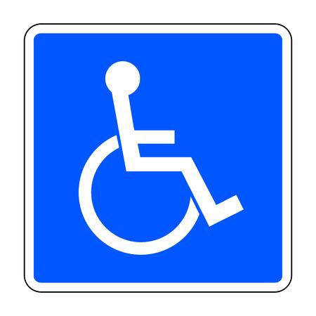 discapacidad: Muestra lisiada. icono de persona con discapacidad en un cuadrado azul aislado sobre fondo blanco. Ejemplos de advertencia emblema y s�mbolo permisiva para minusv�lidos. Vector Vectores