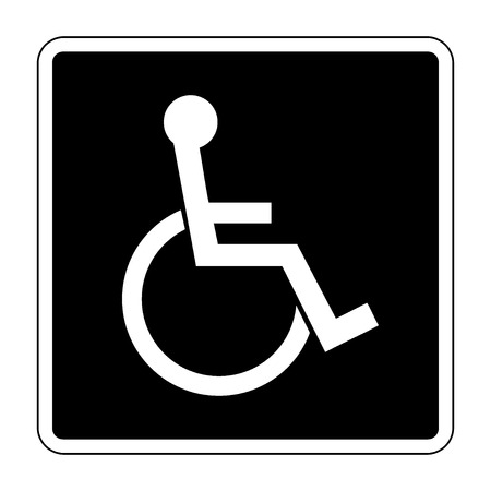 disability: Disabled sign. Handicapped person icon in a black square isolated on white background. Illustrations of warning emblem and permissive symbol for the disabled. Vector
