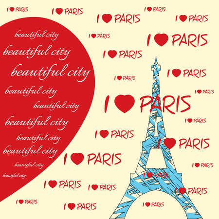 i love paris: Fashion Typography Graphics. T-shirt Design with hearts and lettering Beautiful city, I love Paris. Illustration of blue eiffel tower with red hearts. Big red heart. Paris as symbol of love