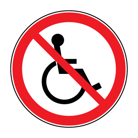 accessible: Disabled sign. Handicapped person icon isolated in the red circle on white background. Illustrations of prohibiting warning emblem and not permissive symbol for the disabled. Vector Illustration