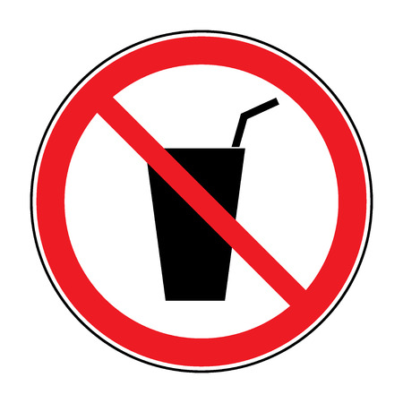 no food: Do not drink icon. No drink sign isolated on white background. Red circle prohibition symbol. Stop flat symbol. Stock vector