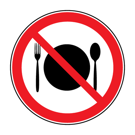 Do not eat icon. Cutlery symbol. Knife and fork. No food symbol isolated on white background. No eating allowed. Red circle prohibition sign. Stop flat symbol. Stock vector