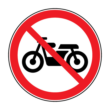 illegal zone: Motorcycle prohibition sign. No motorcycle or no parking icon in the red circle isolated on white background. Illustrations of prohibiting warning symbol for motorcyclists. Vector Illustration