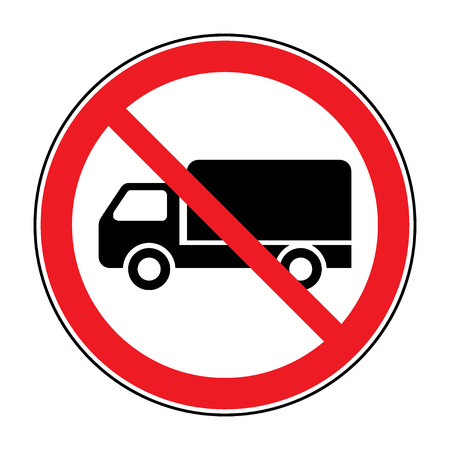 prohibiting: No truck prohibition sign. No lorry or no parking icon in the red circle isolated on white background. Illustrations of prohibiting warning symbol for trucks. No allowed sign. Stock Vector
