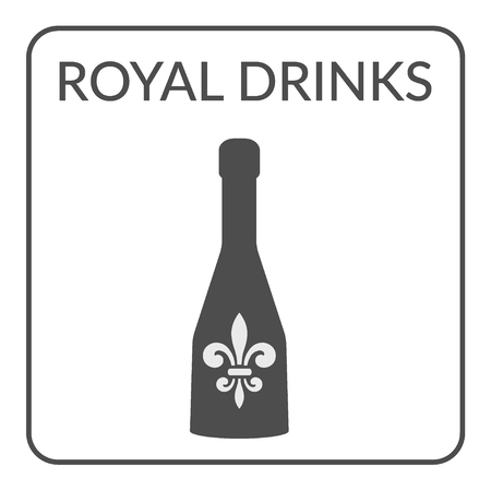 royal french lily symbols: Cover page design for the wine list on white background. icon Design for cafe, coffee shop, restaurant. Icon with a bottle of wine. Service Concept. Restaurant icon with royal fleur de lis. Flat Style