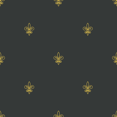 royal french lily symbols: Seamless pattern with gold fleur-de-lis on gray background. Graphics design for wallpaper, wrapping, tiles, fabric, apparel, print production. Fleur de lis royal lily texture in antique style. Vector