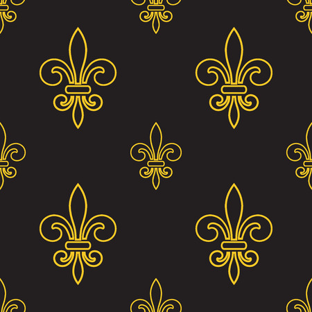 lys: Seamless pattern with gold fleur-de-lis on gray background. Graphics design for wallpaper, wrapping, tiles, fabric, apparel, print production. Fleur de lis royal lily texture in antique style. Vector