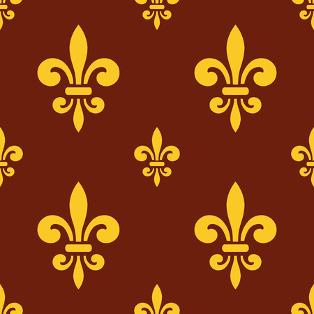 royal french lily symbols: Seamless pattern with gold fleur-de-lis on brown background. Graphics design for wallpaper, wrapping, tiles, fabric, apparel, print production. Fleur de lis royal lily texture in antique style. Vector Illustration
