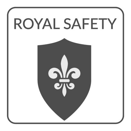 royal french lily symbols: Safety flat symbol. Gray silhouette shield with royal fleur de lis on a white background. Service Concept. icon Design for Security companies or agency. Protection idea. Security icon template