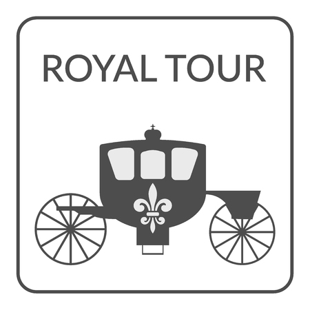 brougham: Tourism and Voyage symbol. Gray silhouette carriage with royal fleur de lis on white background. Flat icon Design for Tourist firm, enterprises, company or advertising agency. Service Concept. Vector