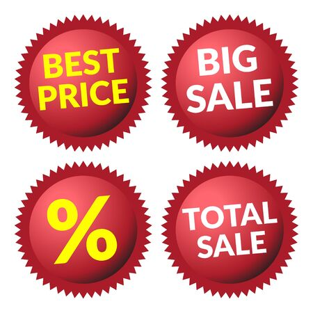 volume discount: Red discount price tags over white background. Set of red sale stickers and labels. Collection sale discount banners. Volume effect. Design template. Sticker with advertising message. Vector