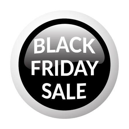 volume discount: Black round sale button on white background. Volume discount button. Icon for black friday. Discount banner. Christmas sale. Glass effect. Sale design template with advertising message. Vector Illustration
