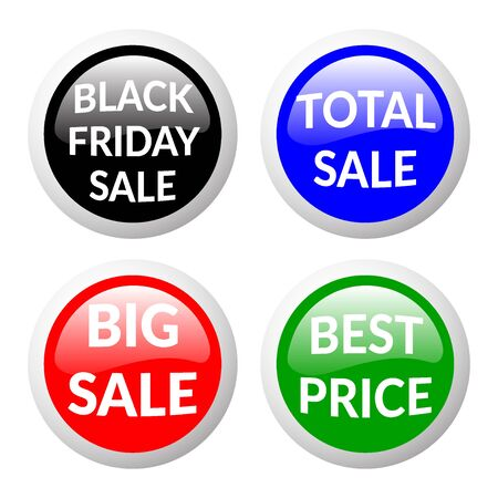 volume discount: Red, green, black and blue discount price signs on white background. Set of colorfull volume sale stickers and labels. Glass effect. Collection of discount banners. Volume effect. Sale design template