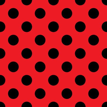 큰 폴카 도트 원활한 패턴입니다. 추상 패션 빨간색과 검은 색 텍스처입니다. 캐주얼 세련 된 템플릿입니다. 벽지, 포장, 직물, 배경, 의류, 인쇄물 제작