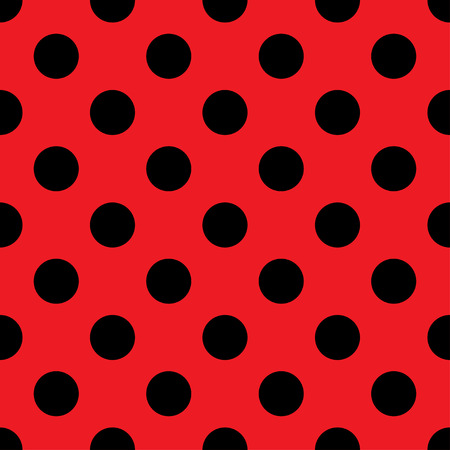 Big Polka Dot seamless pattern. Abstract fashion red and black texture. Casual stylish template. Graphic style for wallpaper, wrapping, fabric, background, apparel, print production, etc. Vector