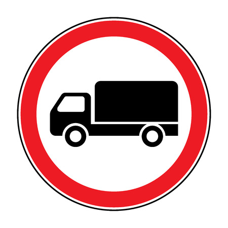 prohibiting: No truck prohibition sign. No lorry or no parking icon in the red circle isolated on white background. Illustrations of prohibiting warning symbol for trucks. No allowed emblem. Stock Vector