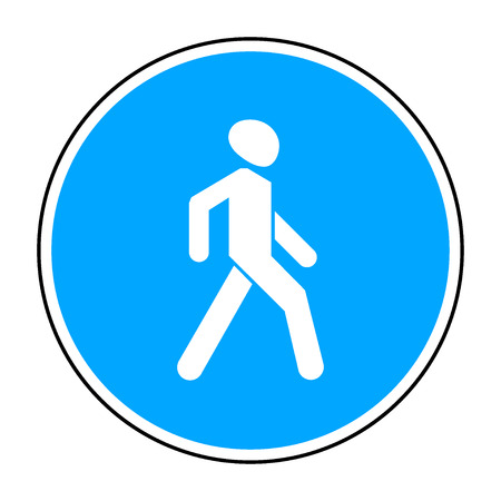 Footpath - road sign in the blue circle isolated on white background. Mandatory action sign, USE FOOTPATH. Stock vector illustration, you can change color and size