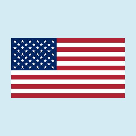플래그 미국 기호입니다. 자유와 독립의 국가 상징. 원래 및 간단한 미국 미국령 흰색 배경에 고립 된 플래그. 공식 색상 및 비율이 올바르게 표시됩니 일러스트