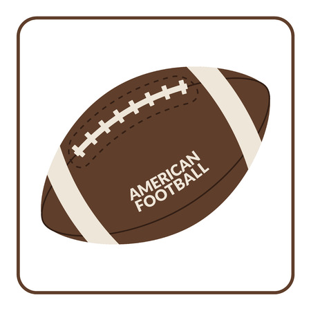 afc: Ball for american football isolated on a white background. Rugby equipment. Symbol of sport, game, competition etc. Flat design. Vector Illustration