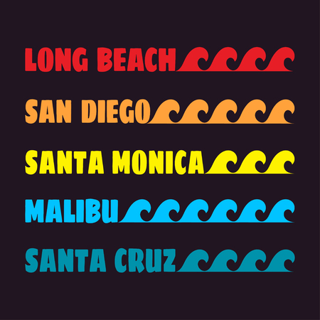 malibu: Beach typography. Fashion graphics design, surf. Graphic style for t-shirt, sportswear apparel and other print production. Original wear. Vector illustration Illustration
