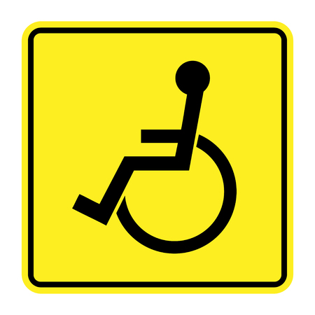 handicapped person: Disabled sign on yellow background. Handicapped person icon isolated in a black square. Permissive warning sign for the disabled