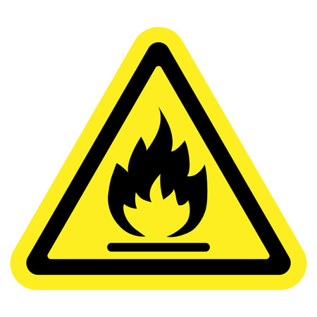 perilous: Fire warning sign in yellow triangle, isolated on white background. Flammable, inflammable substances icon. Hazard icon. Vector illustration