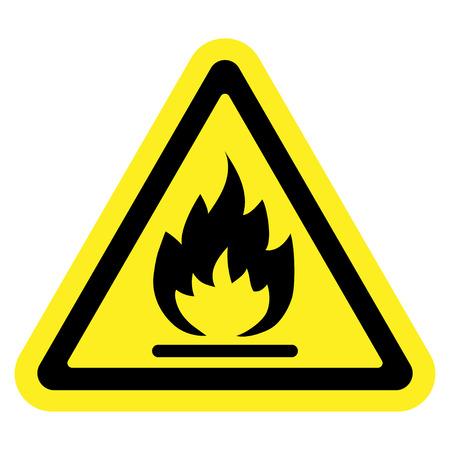 signos de precaucion: Fuego señal de advertencia en el triángulo amarillo, aislado sobre fondo blanco. Sustancias inflamables, inflamables icono. Icono de Hazard. Ilustración vectorial Vectores
