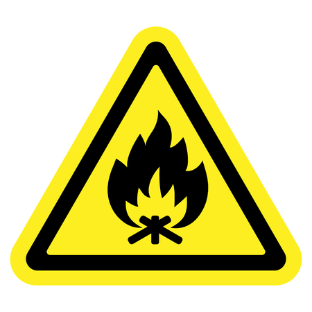 Fire warning sign in yellow triangle, isolated on white background. Flammable, inflammable substances icon. Safety icon. Vector illustration