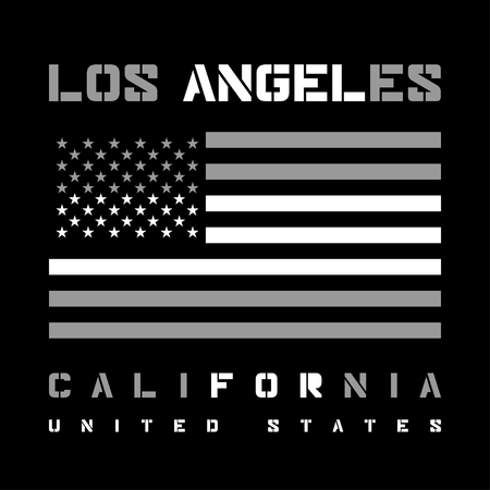 california: Los Angeles California Typography with american flag. T-shirt fashion graphics. Original wear. Graphic style for wallpaper, in textiles, for book design, website, and other print production. Vector