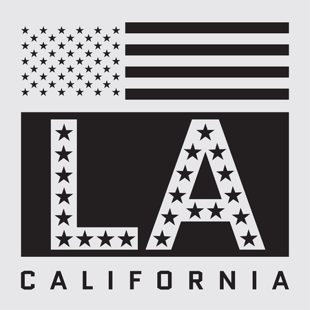 Los Angeles California Typography with american flag. T-shirt fashion graphics. Original wear. Graphic style for wallpaper, in textiles, for book design, website, and other print production. Vector
