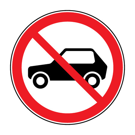 illegal zone: No car road sign. Prohibit icon. Not allowed automobile symbol. Forbidden red round label. Stock vector illustration
