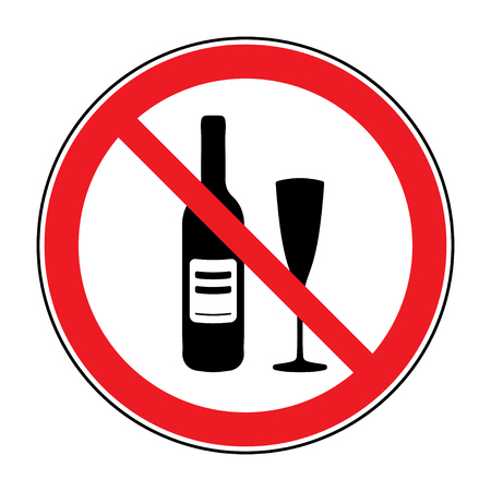No alcohol drinks icon. Prohibits sign. Not allowed alcoholic. Black silhouette in red round isolated on white background. Forbidden warning symbol. Vector illustration Illustration