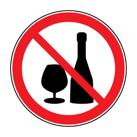 alcohol: No alcohol drinks icon. Prohibits sign. Not allowed alcoholic. Black silhouette in red round isolated on white background. Forbidden warning symbol. Vector illustration Illustration