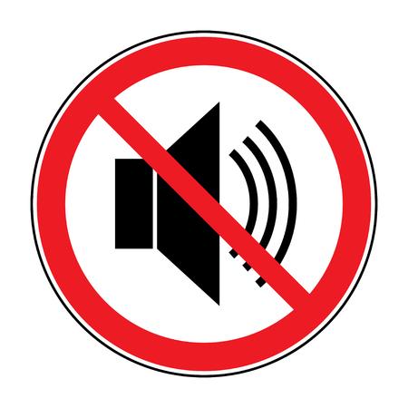 Nessuna icona rumore. Indicando il segnale al silenzio, muto. Speaker con segno forte vietato. Silenzio, mute. Rosso simbolo divieto non suono o la musica isolato su sfondo bianco. illustrazione vettoriale stock