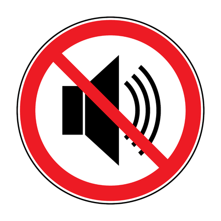No noice icon. Indicating signal to silence, mute. Speaker with loud prohibited sign. Silence, mute. Red prohibition symbol not sound or music isolated on white background. Stock Vector illustration Çizim