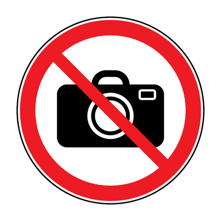 slr: No photographing sign. Prohibition photo camera icon. Ban camera SLR button. Red symbol isolated on white background. Stock Vector Illustration Illustration