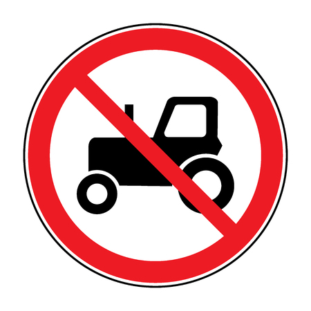tractor warning sign: No tractor road sign. Red prohibition agricultural auto icon, isolated on white background. Prohibit symbol agriculture truck. Stock Vector illustration