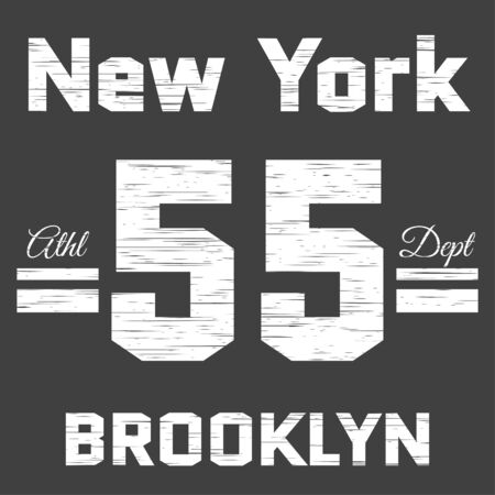 athletic wear: New York Brooklyn Typography on gray background. Athletic Department. Sport T-shirt fashion graphics. Design Print for sportswear apparel. Original wear. Vector illustration Illustration
