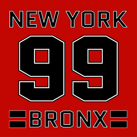 athletic wear: New York Bronx basketball Typography. Athletic T-shirt fashion graphics. Design Print for sportswear apparel. NYC original wear. Vector illustration