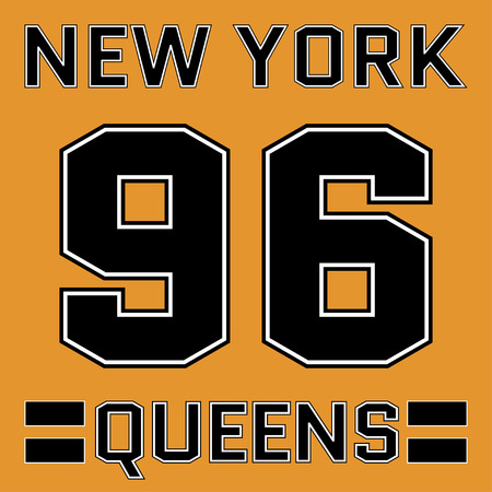 athletic wear: New York Queens basketball Typography. Athletic T-shirt fashion graphics. Design Print for sportswear apparel. NYC original wear. Vector illustration Illustration