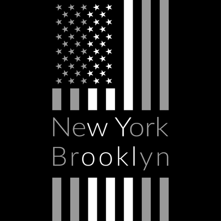New York Brooklyn Typography on black background with american flag. Sport T-shirt fashion graphics. Design Print for sportswear apparel. Original wear. Vector illustration