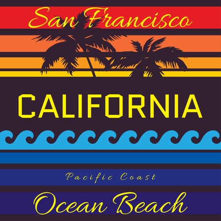 California beach Typography Graphics. San Francisco Ocean Beach. T-shirt Printing Design for sportswear apparel. CA original wear. Concept in vintage graphic style for print production. Palms and wave