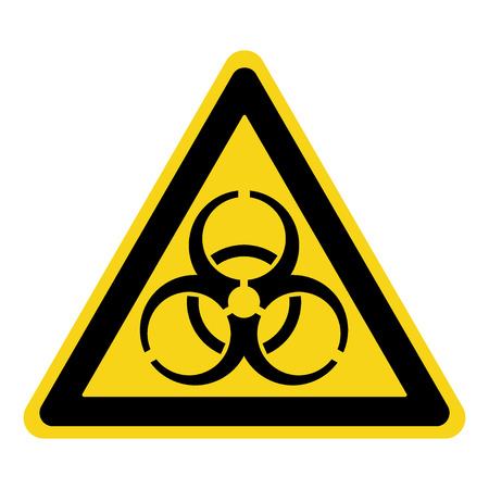 biohazard: Biohazard Sign. Symbol of biological threat alert. Black hazard emblem isolated in yellow triangle on white background. Danger label. Warning icon. Stock Vector Illustration Illustration