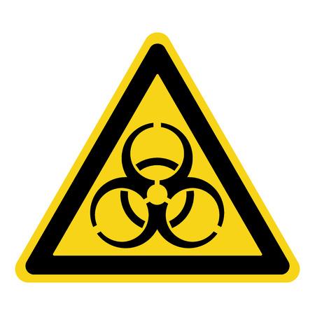 riesgo biologico: Señal de peligro biológico. Símbolo de alerta de amenaza biológica. emblema del peligro negro aislado en el triángulo de color amarillo sobre fondo blanco. etiqueta de peligro. El icono de aviso. Ilustración común del vector