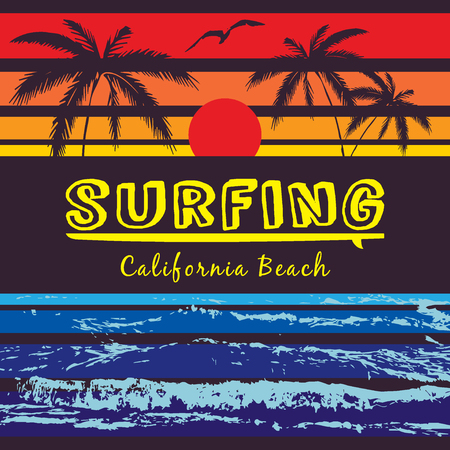 california coast: California beach Typography Graphics. Pacific Coast California Surfboard. Surfer emblem. T-shirt Printing Design for sportswear apparel. CA original wear. Concept in vintage style for print production Illustration