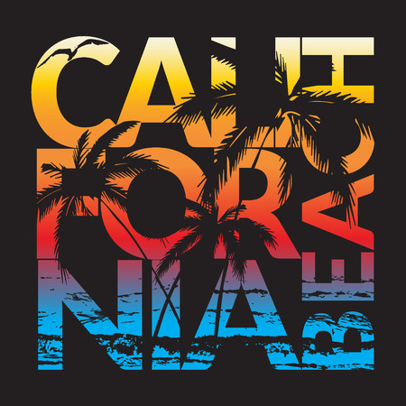 california: California beach Typography Graphics. T-shirt Printing Design for sportswear apparel. CA original wear. Concept in vintage graphic style for print production. Palms, wave and seagull. Vector