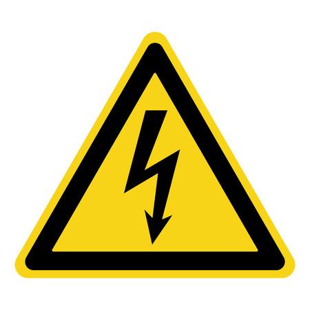 Achtung Hochspannung. Gefahrensymbol. Schwarzer Pfeil in gelben Dreieck auf weißem Hintergrund. Warnsymbol. Vektor-Illustration