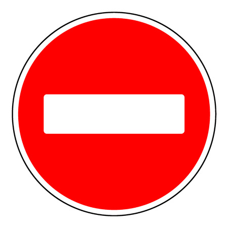 Do not enter blank sign. Warning red circle icon isolated on white background. Prohibition concept. No traffic street symbol. Vector illustration Ilustrace