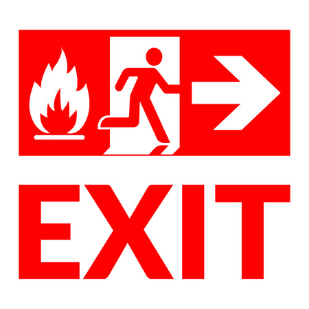 emergency exit label: Exit sign. Emergency fire exit door and exit door. Red icon on white background. Safe condition symbol. Label with human figure and arrow. Vector illustration